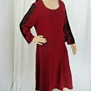 Nine West Bordeaux Sweater Dress Size XL Lace